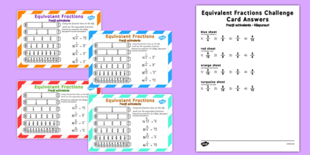 Equivalent Fractions Challenge Cards Romanian Translation - romanian, fraction, numeracy, maths