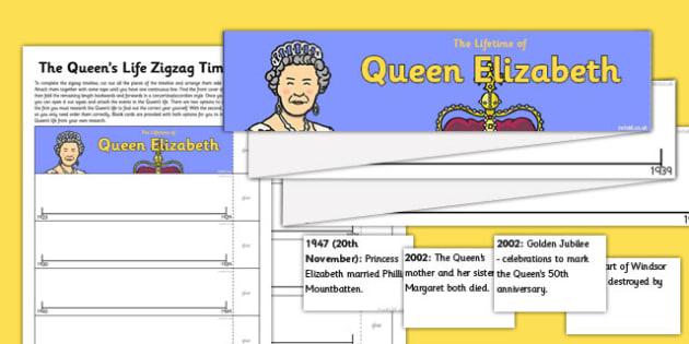 The Queen's Life Zig Zag Timeline - queens life, zig zag, timeline