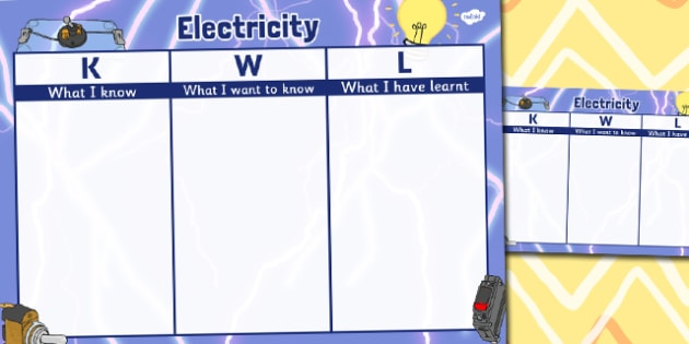 Electricity Topic KWL Grid - electricity, topic, kwl, grid, know