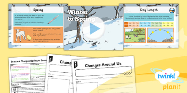 PlanIt - Science Year 1 - Seasonal Changes (Spring and Summer) Lesson 1: Winter to Spring Lesson Pack - planit