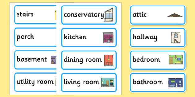 Parts of a House Word Cards - parts of a house, word cards, word, cards, parts, house