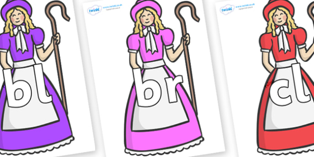 Initial Letter Blends on Little Bo Peep - Initial Letters, initial letter, letter blend, letter blends, consonant, consonants, digraph, trigraph, literacy, alphabet, letters, foundation stage literacy