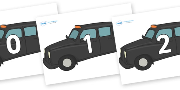 Numbers 0-50 on Taxi Cabs - 0-50, foundation stage numeracy, Number recognition, Number flashcards, counting, number frieze, Display numbers, number posters