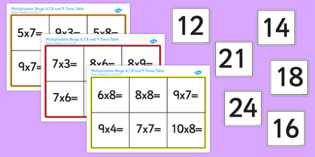 6, 7, 8 and 9 Multiplication Bingo Romanian Translation - romanian, times, times tables, multiply