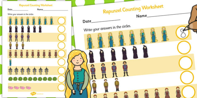 Rapunzel Counting Sheet - counting sheet, rapunzel, story, count