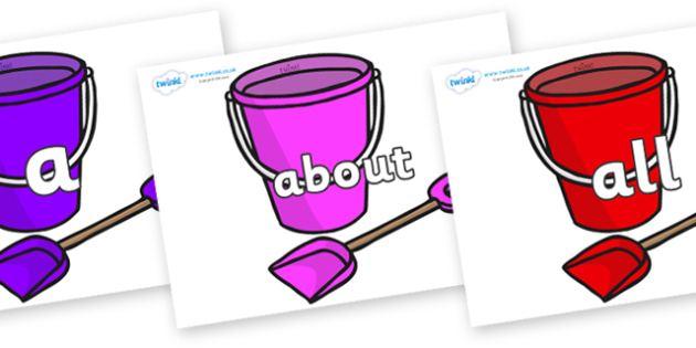100 High Frequency Words on Spade and Buckets - High frequency words, hfw, DfES Letters and Sounds, Letters and Sounds, display words