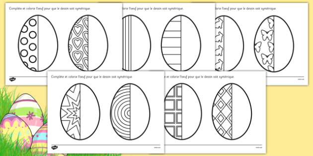 Easter Egg Symmetry Sheets French - french, symmetry, sheets, symmetry sheets, easter egg, symmetry activity, easter egg symmetry, easter symmetry, reflection, creating symmetry, numeracy, math, shapes, symmetry activity