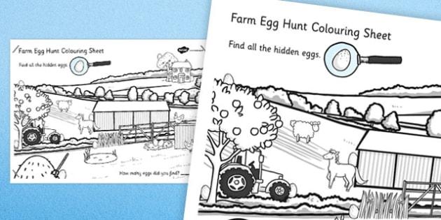 Farm Egg Hunt Large Colouring Sheet - farm, egg, hung, colouring