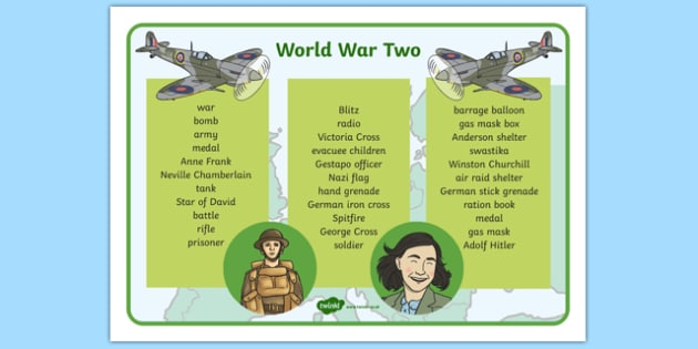 World War Two Word Mat Text - World War Two, WW2, history, war, world war, text, word mat, writing aid, mat, Nazi Germany, battle, soldiers, 1939, 1945, Pearl Harbour, Hitler