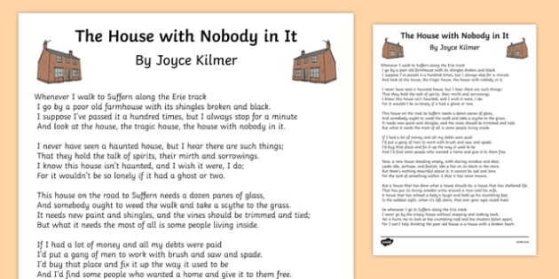 The House with Nobody in It Poem Print-Out