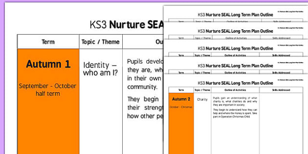 Nurture SEAL Long Term Plan Outline - nurture, seal, long term, plan, outline