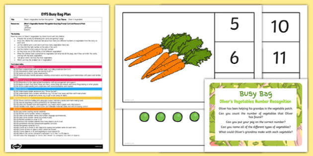 EYFS Olivers Vegetables Number Recognition Busy Bag Plan and Resource Pack