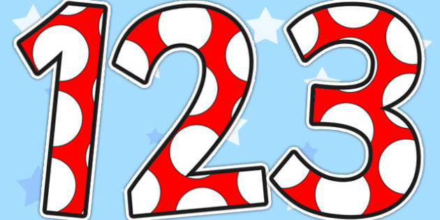 Red and White Spots Display Numbers - display numbers, red, white, display