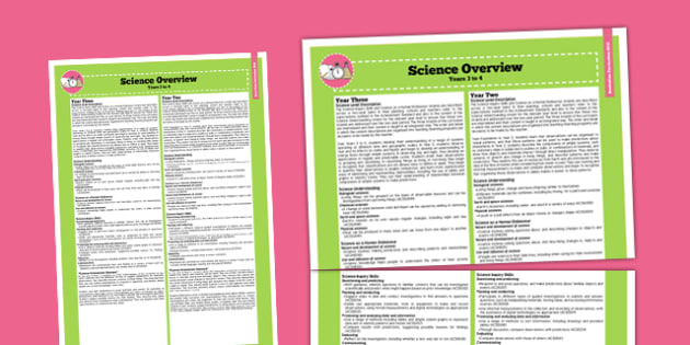 Australian Curriculum Foundation to Year 2 Overview Science