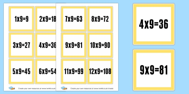 9 Times Table Cards - Times Tables Primary Resources, multiply, times, number of, games, Times, Table, Tabe