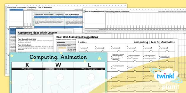 PlanIt - Computing Year 4 - Animation Unit Assessment Pack - planit, computing, unit