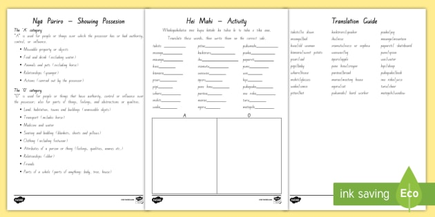 Showing Possessions Activity Sheet - possessions,