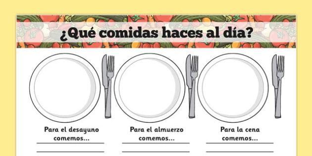¿Qué comidas haces al día? Meal Time Writing Templates Spanish - spanish, meal time, writing frame, template, Lunchtime, dinner, breakfast, tea