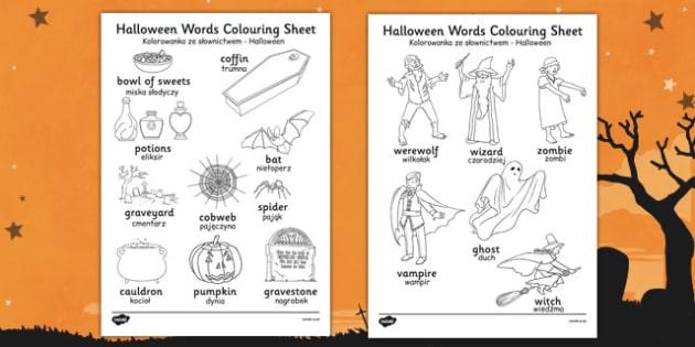 Halloween Words Colouring Worksheet Polish Translation - polish, halloween, hallowe'en, words, colouring, worksheet, colour