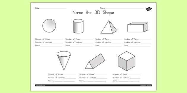 Name the 3D Shape Worksheet 1 - australia, 3d, shape, names