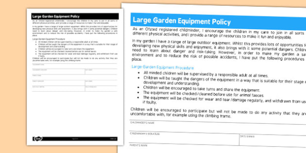 Large Garden Equipment Policy for Childminders - childminders