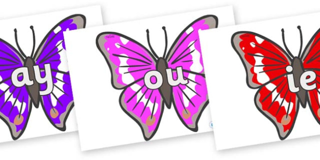 Phase 5 Phonemes on Emperor Butterflies - Phonemes, phoneme, Phase 5, Phase five, Foundation, Literacy, Letters and Sounds, DfES, display
