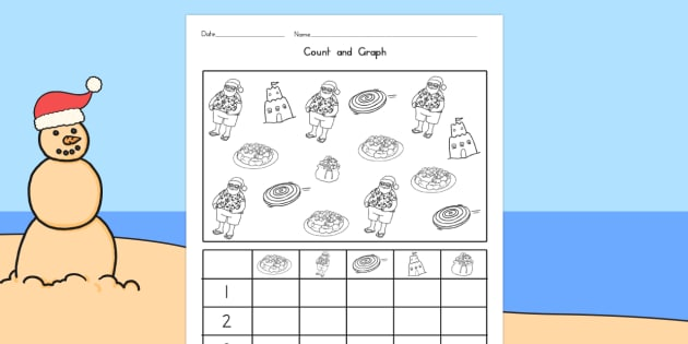 Christmas Themed Count and Graph - australia, christmas, count