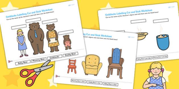 Goldilocks Scene Labelling Cut and Stick Worksheet - cut, stick