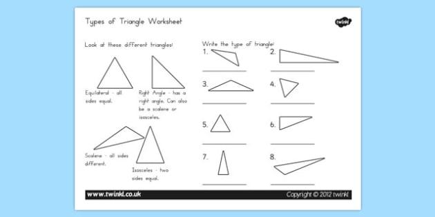 Types of Triangle Worksheet - australia, triangle, types, worksheet