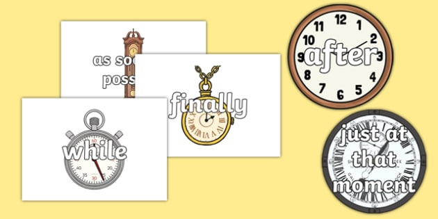 Time Conjunctions on Clocks and Watches - time, connectives