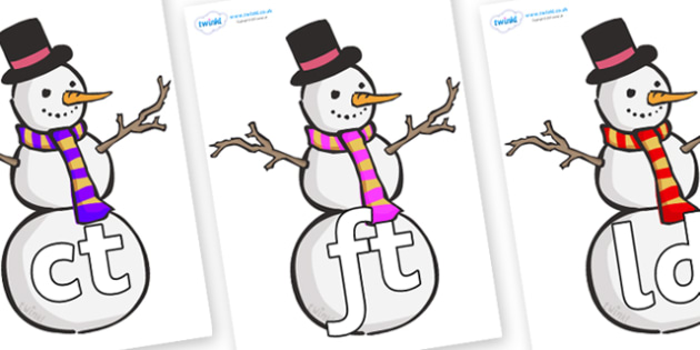 Final Letter Blends on Snowmen - Final Letters, final letter, letter blend, letter blends, consonant, consonants, digraph, trigraph, literacy, alphabet, letters, foundation stage literacy