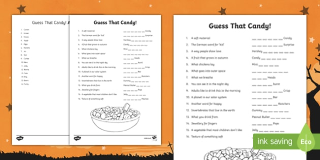 Guess That Candy Activity Sheet, worksheet