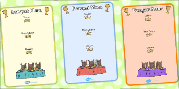 Fairytale Castle Role Play Banquet Menu - Fairytale Castle Role Play Pack, fairytale castle, princess, prince, knight, king, queen, banquet, ball, invites, shields, castle, tale, role play, display, poster
