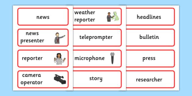 News Word Cards - news, newsroom, word cards, cards, flashcards, news presenter, reporter, camera, headlines, story, press, camera operator, bulletin