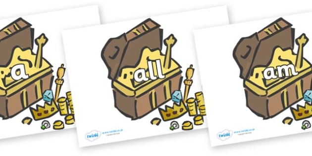 Foundation Stage 2 Keywords on Treasure Chests - FS2, CLL, keywords, Communication language and literacy,  Display, Key words, high frequency words, foundation stage literacy, DfES Letters and Sounds, Letters and Sounds, spelling