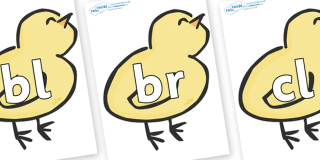 Initial Letter Blends on Chicks - Initial Letters, initial letter, letter blend, letter blends, consonant, consonants, digraph, trigraph, literacy, alphabet, letters, foundation stage literacy