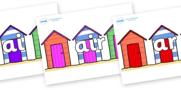 Phase 3 Phonemes on Beach Huts - Phonemes, phoneme, Phase 3, Phase three, Foundation, Literacy, Letters and Sounds, DfES, display