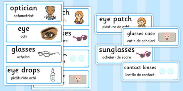 Romanian Translation Opticians Role Play Word Cards - romanian