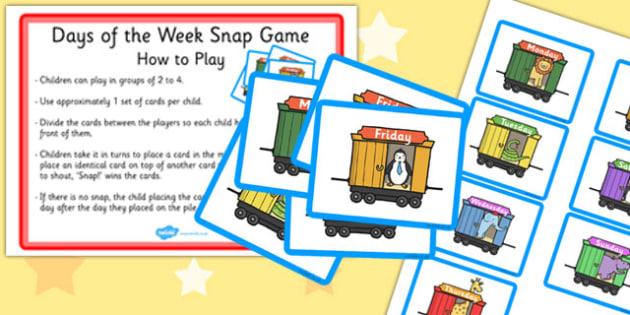 Days of the Week Train Snap Game - days, week, snap game, snap, game