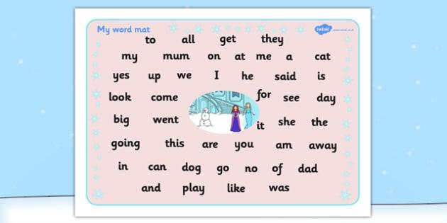 Winter Fairytale Themed FS2 Word Mat - word mat, frozen, tale