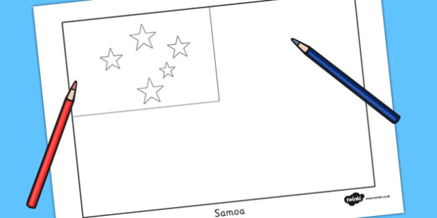Samoa Flag Colouring Sheet - countries, country, geography