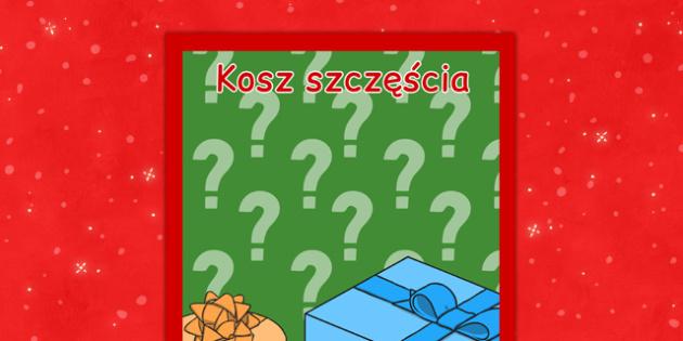 Świąteczny plakat Szczęśliwy koszyk po polsku - kiermasz, loteria