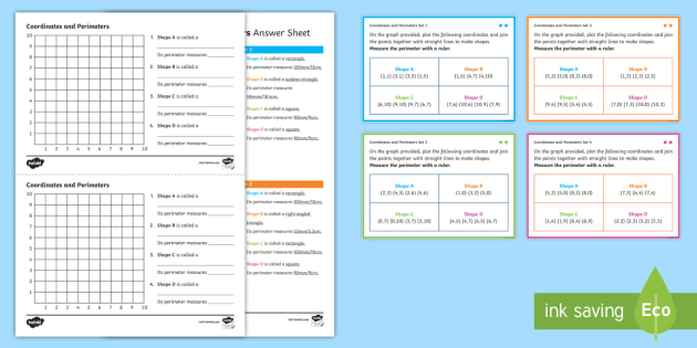 Co ordinates and Perimeters Challenge Cards with Grid Worksheets