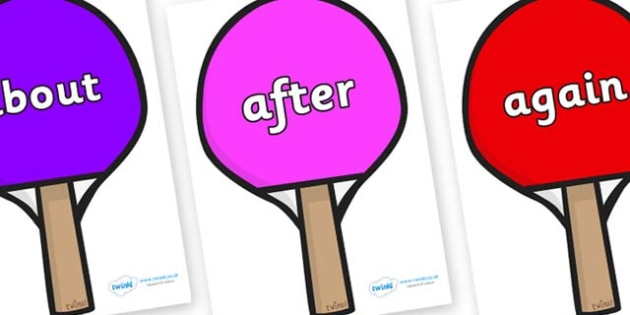 KS1 Keywords on Table Tennis Bats - KS1, CLL, Communication language and literacy, Display, Key words, high frequency words, foundation stage literacy, DfES Letters and Sounds, Letters and Sounds, spelling