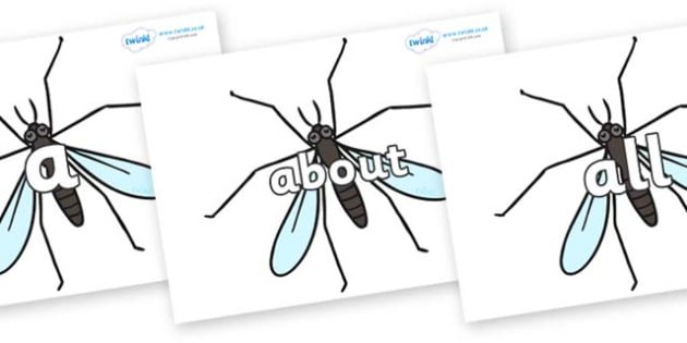 100 High Frequency Words on Crane Flies - High frequency words, hfw, DfES Letters and Sounds, Letters and Sounds, display words