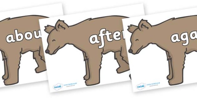 KS1 Keywords on Bears - KS1, CLL, Communication language and literacy, Display, Key words, high frequency words, foundation stage literacy, DfES Letters and Sounds, Letters and Sounds, spelling