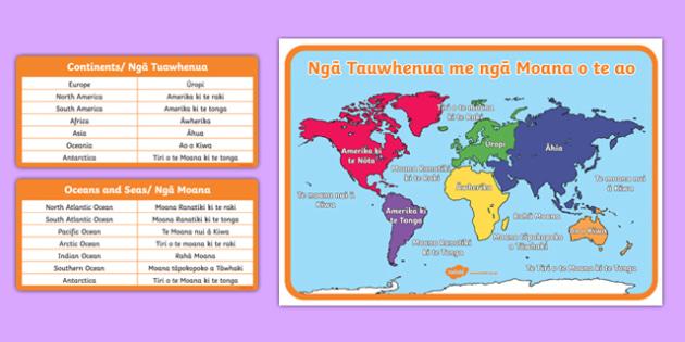Ngā Tauwhenua me ngā Moana o te ao/Continent, Seas and Oceans of the World Map