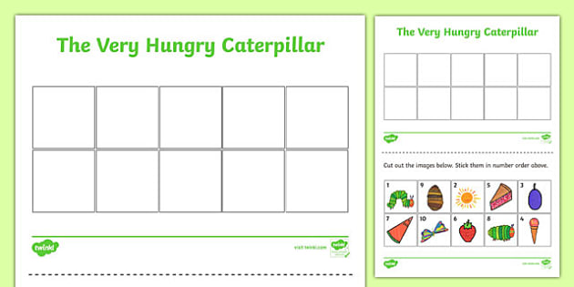 Themed Cut and Stick Number Ordering Sheets 1-10 to Support Teaching on The Very Hungry Caterpillar - the very hungry caterpillar, cut and stick, number ordering, number, order, 1-10