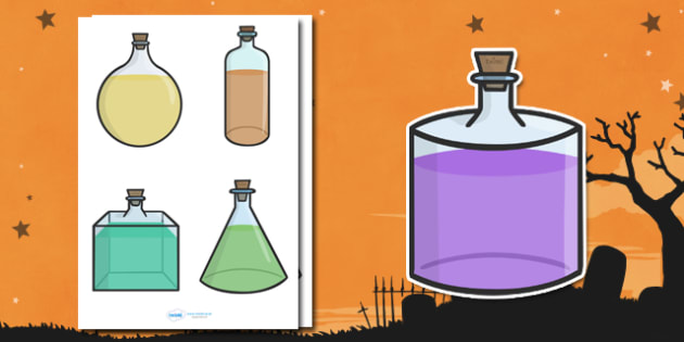 Editable Halloween Potion Bottles (Small) - Editable Halloween Potion Bottles, potion, bottle, small, display, poster, Halloween, pumpkin, witch, bat, scary, black cat, mummy, grave stone, cauldron, broomstick, haunted house, potion, Hallowe'en