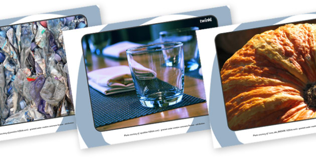 Materials Display Photos - Display Posters, materials, science, investigation, A4, display, posters, material properties, shiny, dull, rough, smooth, bumpy, wood, plastic, glass, stone, transparent